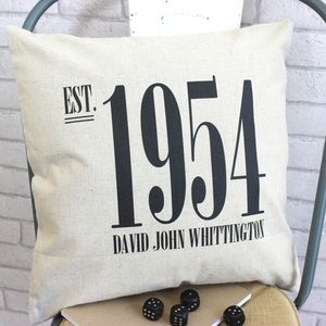 Personalised Est. Linen Cushion