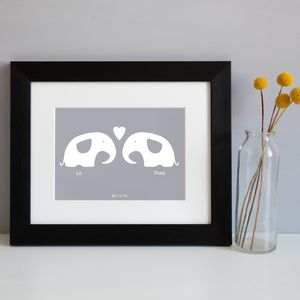 Personalised 'Elephants in Love' Picture