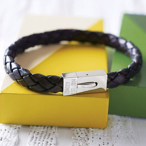 Personalised Men's Leather Date Bracelet - last-minute christmas gifts for him