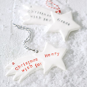 Personalised Ceramic Christmas Wish Decoration - tree decorations
