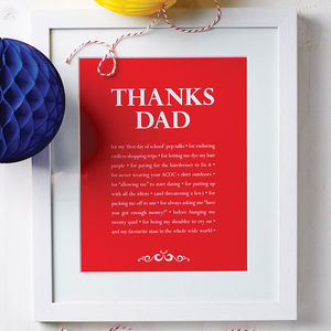 Personalised 'Thanks Dad' Print - gifts for fathers