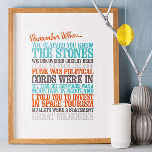 Personalised 'Remember When' Print - 80th birthday gifts