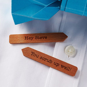 Personalised Wooden Collar Stiffeners - personalised gifts for him