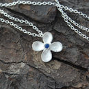 Silver Flower Necklace with Blue Sapphire