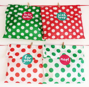 Spotty Christmas Party Bags And Stickers - cards & wrap