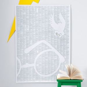 Harry Potter Book On One Page With Magnifying Glass - posters & prints for children