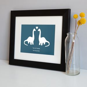 Personalised Dinosaur Love Print - dinosaur inspired children's room