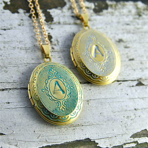 Personalised Stamped Patina Locket - birthday gifts