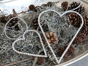 Diamante Heart Hanging Tree Decoration - winter sale