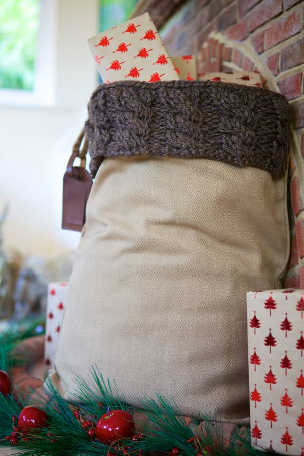 Personalised Winter Brown Cable Knit Santa Sack