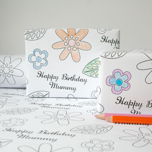 Personalised Colour In Flowers Gift Wrap