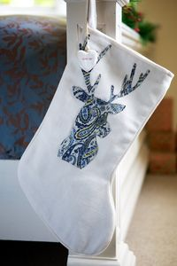 Personalised Paisley Blue Reindeer White Stocking