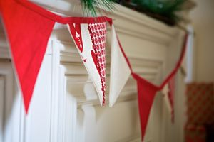 Red And White Christmas Bunting
