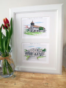 Double Wedding Venue Illustration - drawings & illustrations