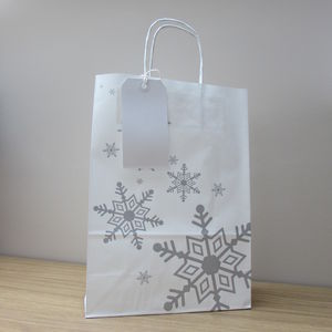 Five Pack Silver Snowflake White Gift Bag And Tag Set - gift bags & boxes