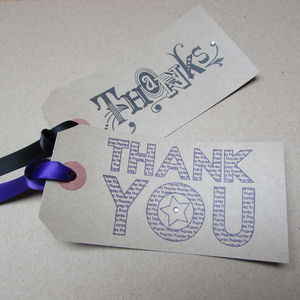 Pack Of Five 'Thanks' Or 'Thank You' Gift Tags
