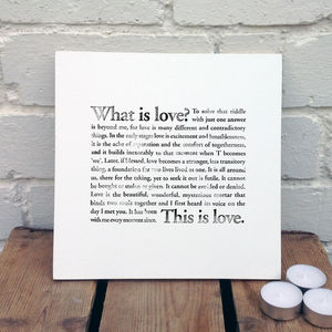 What Is Love? Wooden Sign