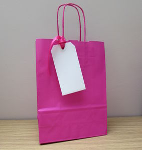 Five Pack Bright Pink Gift Bag And Tag Set