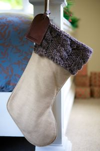 Personalised Winter Brown Cable Knit Christmas Stocking