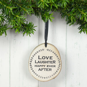 'Love Laughter Happy Ever After' Wooden Plaque
