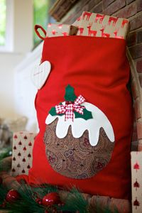 Personalised Red Vintage Style Pudding Sack - stockings & sacks