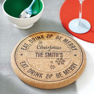 Personalised Christmas Cork Trivet - dining room
