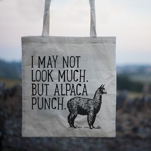 'Alpaca Punch' Canvas Shopper Tote Bag