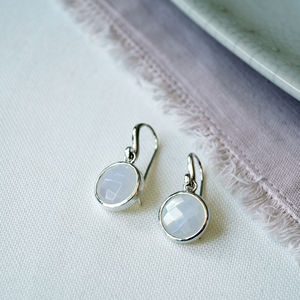 Faceted Moonstone Earrings - gemstones