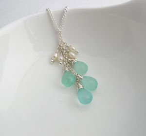 Green Quartz And Pearl Necklace - gemstones