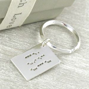 Personalise Morse Code Love Letter Key Ring - metal keyrings