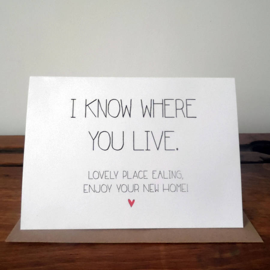 Personalised new home card by witty hearts for Enjoy your new home images