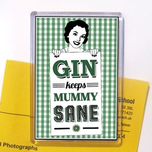 'Mummy Gin' Fridge Magnet Stocking Filler - kitchen accessories