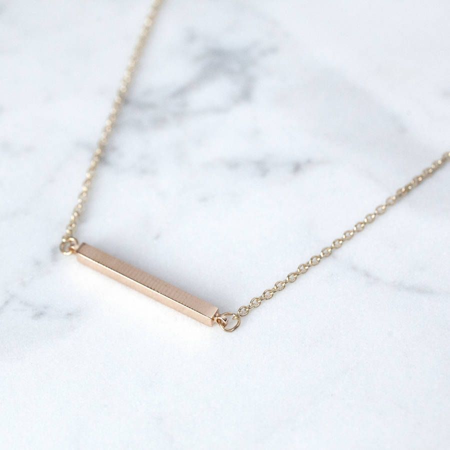 Gold bar necklace by junk jewels notonthehighstreet gold bar necklace aloadofball Image collections