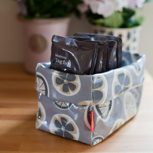 Oilcloth Storage Basket - dogs