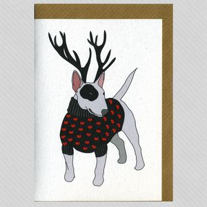Illustrated English Bull Terrier Deer Blank Card