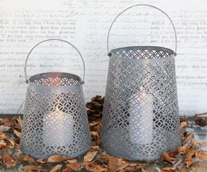 Zinc Hurricane Lanterns / Plant Pots - votives & tea light holders