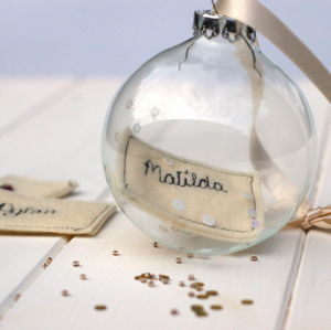 Personalised Glass Bauble - wedding favours