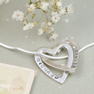 Personalised Sterling Silver Hearts Necklace - necklaces & pendants