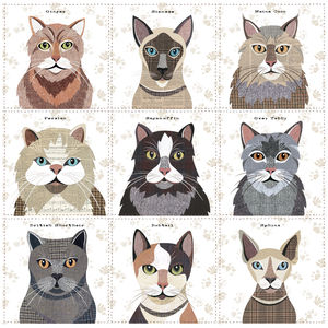 Cat Print Canvas Cushion Cover Nine Designs Available