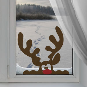 Peeping Reindeer Window Sticker - personalised