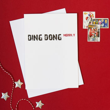 Typographic Ding Dong Christmas Card