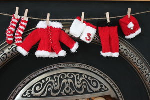 Knitting Kit Santa Outfit Garland - christmas parties & entertaining
