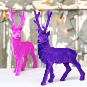 Flocked Reindeer Ornament - christmas home accessories