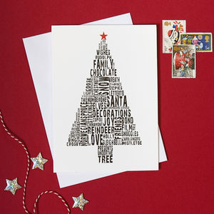 Pack Of Four Tree Christmas Cards