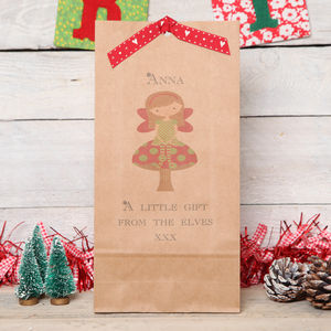 Personalised Christmas Fairy On Toadstool Bag