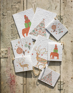 Growing Paper Christmas Tree Seeded Greeting Card - cards