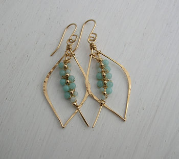 Amazonite Woven Tusk Earrings