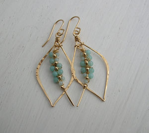 Amazonite Woven Tusk Earrings - earrings