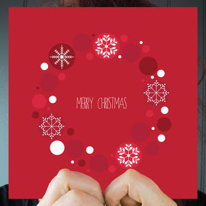 Merry Christmas Red Wreath Greeting Card - cards