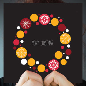 Merry Christmas Black Wreath Greeting Card
